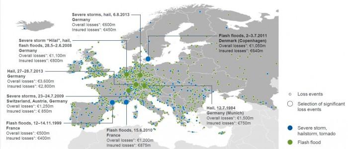 Gewitter- und Hagelstürme (konvektive Stürme) in Europa 1980 bis 2013. Rechte Seite: Schadenereignisse, Auswahl signifikanter Schadenereignisse, blau: schwerer Sturm, Hagel, Tornado, grün: Sturzflut. Beträge zeigen Originalschäden. Für eine größere Ansicht klicken Sie bitte auf das Bild