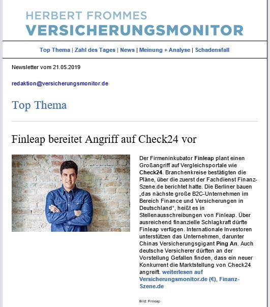 14f26eb736 Kostenlosen Newsletter bestellen Herbert Frommes Versicherungsmonitor