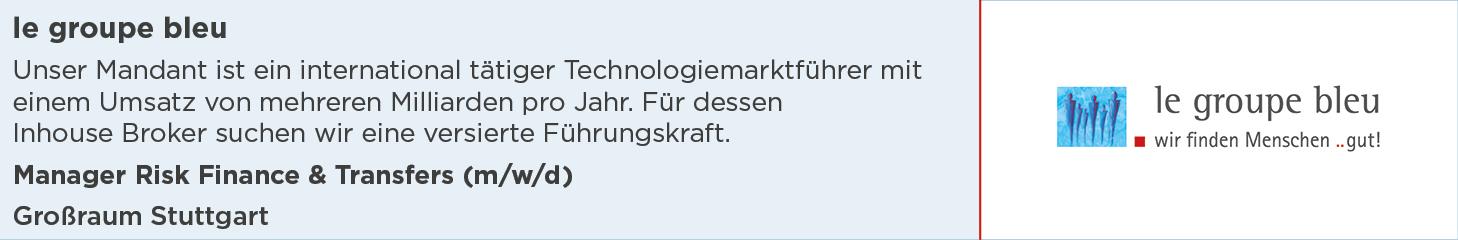le groupe bleu, Stellenanzeige, Manager Risk Finance & Transfers, Großraum Stuttgart