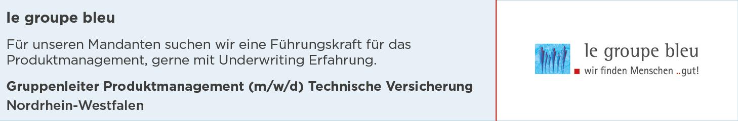 le groupe bleu, Stellenanzeige, Gruppenleiter Produktmanagement, Technische Versicherung, Nordrhein-Westfalen