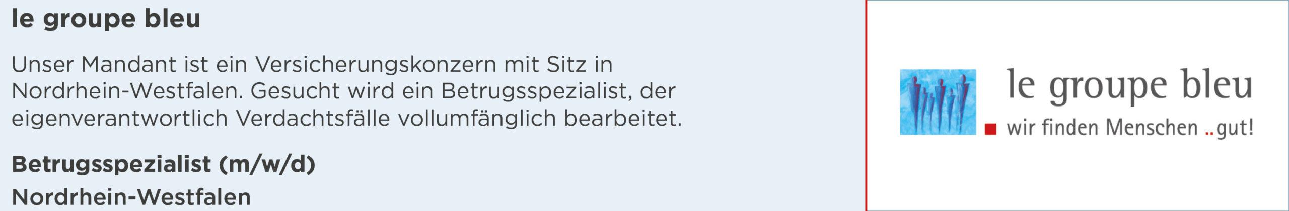 le groupe bleu, stellenanzeige, betrugsspezialist, köln, nordrhein-westfalen