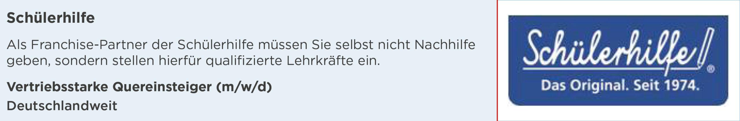 schuelerhilfe, stellenanzeige, quereinsteiger, vertrieb, deutschlandweit