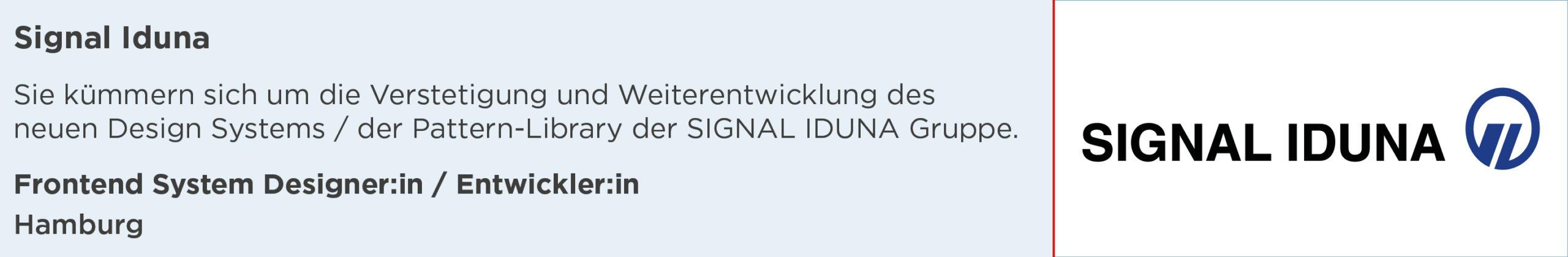 Signal Iduna, Stellenanzeige, Frontend System Designerin Entwicklerin, hamburg