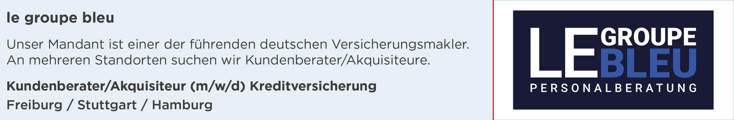 le groupe bleu, stellenanzeige, kundenberater, akquisiteur, kreditversicherung, freiburg, stuttgart, hamburg