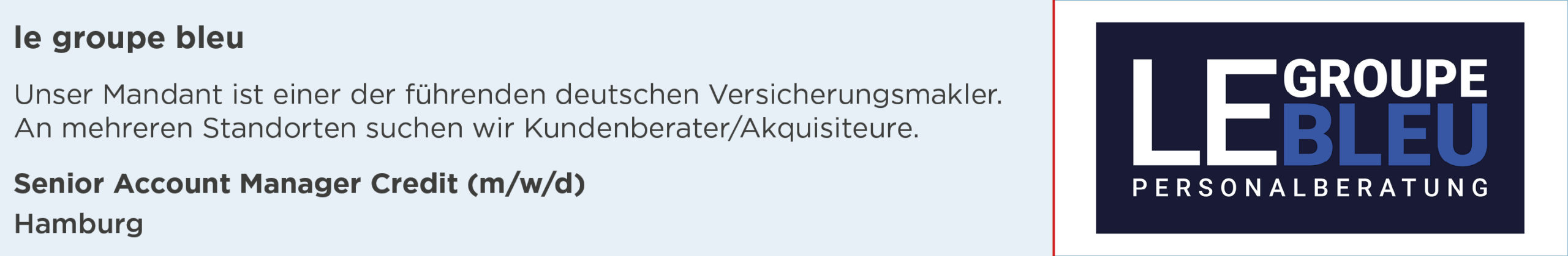 le groupe bleu, stellenanzeige, senior, account, manager, credit, hamburg
