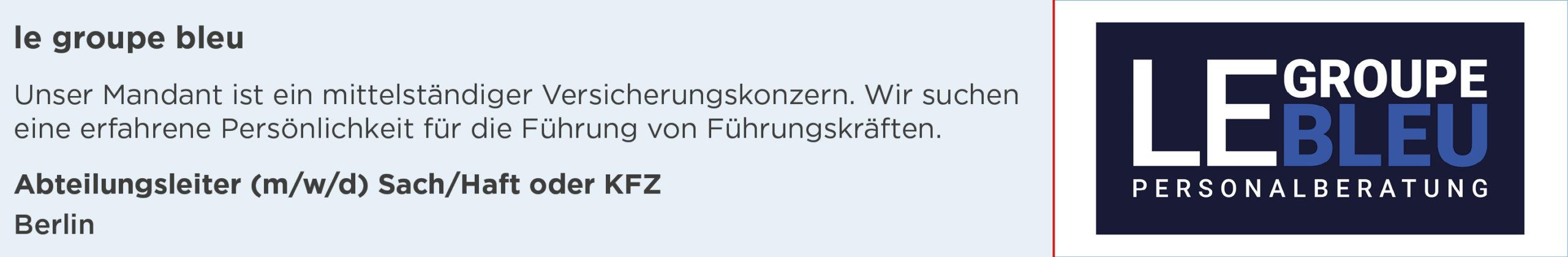 le groupe bleu, abteilungsleiter, sach, haft, kfz, stellenanzeige, berlin