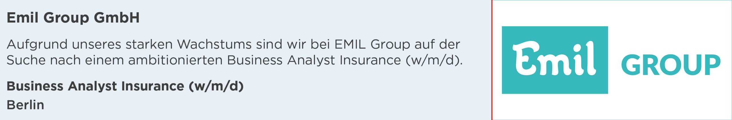 emil group, business analyst insurance, stellenanzeige, berlin
