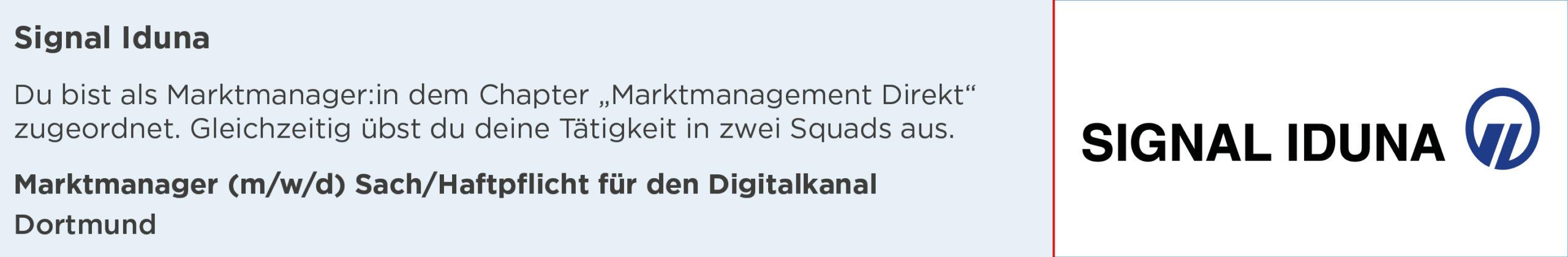 signal Iduna, marktmanager, sach, Haftpflicht, Digitalkanal, Stellenanzeige, dortmund
