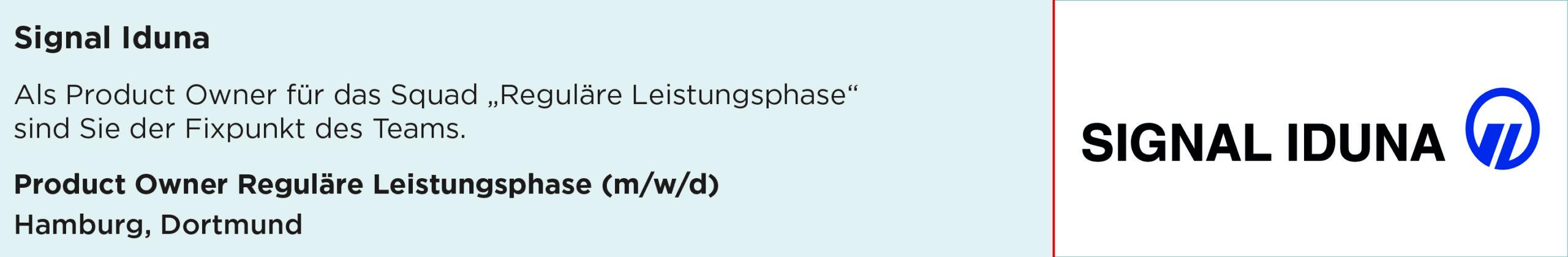 signal Iduna, product owner, reguläre leistungsphase, Stellenanzeige, hamburg, dortmund